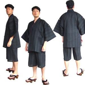 纏(まとい)織甚平  キングサイズ 黒 3L - 拡大画像
