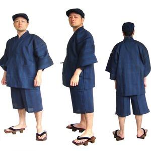 纏(まとい)織甚平  キングサイズ 紺 3L - 拡大画像