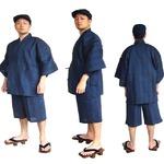 纏(まとい)織甚平  キングサイズ 紺 3L