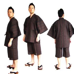 纏(まとい)織甚平  キングサイズ 濃茶 5L - 拡大画像