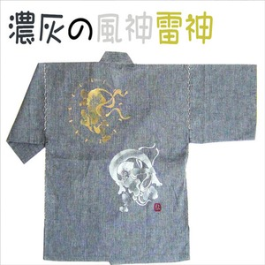 風神雷神の手書き絵・しじら織甚平 キングサイズ濃灰4L - 拡大画像