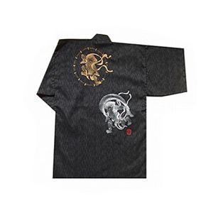 風神雷神の手書き絵・しじら織甚平 キングサイズ黒5L - 拡大画像