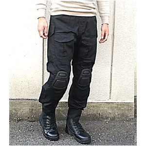 ニーガード付G3タクティカルパンツ ブラック S - 拡大画像