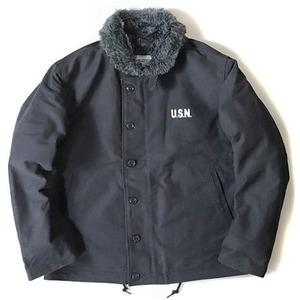 USタイプ 「N-1」 DECK ジャケット ブラック(裏ボアグレー) 34(S)サイズ【レプリカ】 - 拡大画像