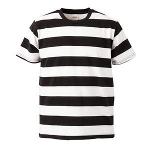 ボールドボーダーショートスリーブTシャツ ブラック&ホワイト L - 拡大画像