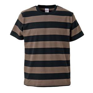 ボールドボーダーショートスリーブTシャツ ブラック&チャコール L - 拡大画像