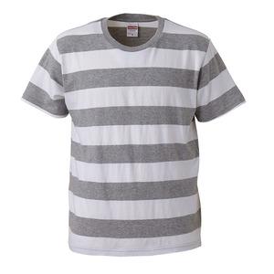 ボールドボーダーショートスリーブTシャツ ヘザーグレー&ホワイト L - 拡大画像