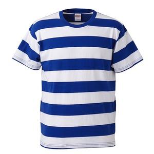 ボールドボーダーショートスリーブTシャツ ロイヤルブルー&ホワイト S - 拡大画像