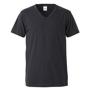 深すぎす浅すぎないVネックTシャツ2枚セット (ホワイト+ブラック) XL - 拡大画像