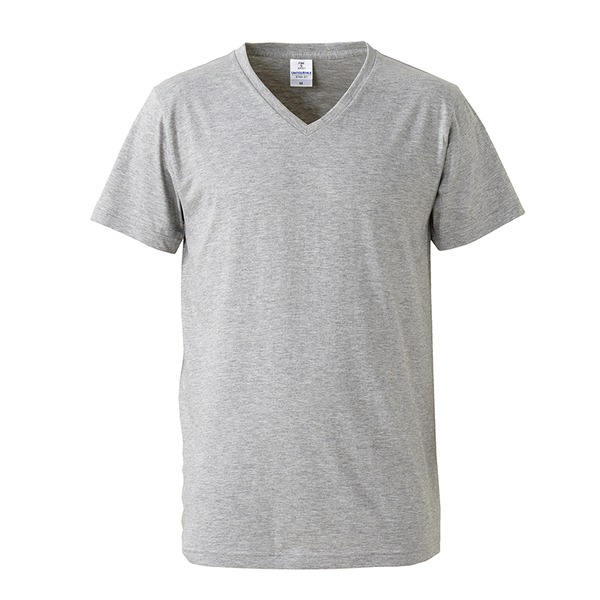 深すぎす浅すぎないVネックTシャツ2枚セット (ホワイト+ヘザーグレー) S