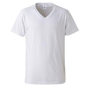 深すぎす浅すぎないVネックTシャツ2枚セット (ホワイト+ホワイト) L - 拡大画像