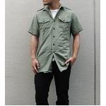 イギリス軍放出フィールドシャツ半袖オリーブ【中古】  L