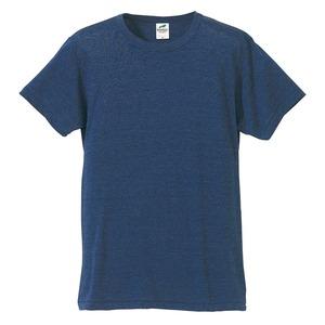 猛暑対策4.4オンスライトウェイトシャンブレー(霜降り)Tシャツ同色3枚セット ビンテージヘザーネイビー XL - 拡大画像
