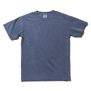50回ウォツシュ加工ガーメント後染め6.2オンスヘビーウェイトTシャツ ブルージーン M