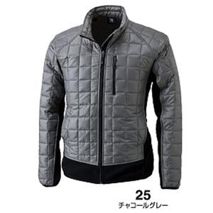 マイクロリップブロック中綿キルティング両脇フリース防寒ジャケット チャコールグレー M