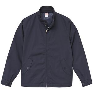 テカリを抑えた綿混・撥水加工、防風加工、裏地付スウィンブトップジャケット ネイビー L - 拡大画像
