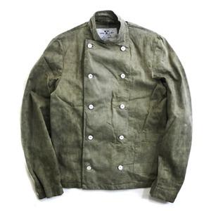 スウェーデン軍放出コックジャケット後染め未使用デットストック  オリーブ 50/150(M相当) - 拡大画像
