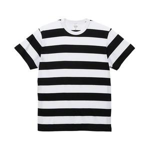 5.6オンス ボーダー Tシャツ S ブラック 5cm幅 - 拡大画像