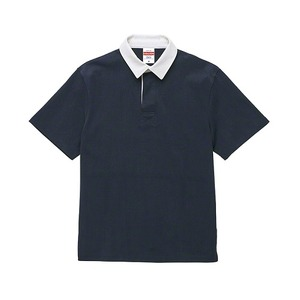 8.3オンス吸汗速乾空紡糸使用ラガーシャツ半袖 ネイビー M