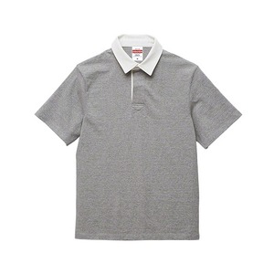 8.3オンス吸汗速乾空紡糸使用ラガーシャツ半袖 ミックスグレー L