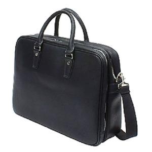防水撥水加工合成皮革・ ビジネスバッグ ブリーフケース B4サイズ対応 ダブルマチ ブラック - 拡大画像