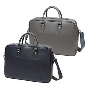 防水撥水加工合成皮革・ ビジネスバッグ ブリーフケース B4サイズ対応 ダブルマチ グレー