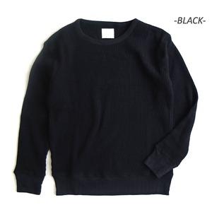 スーパーヘビーウェイト度詰めスウェット並みワッフルアンダーシャツ ブラック L - 拡大画像