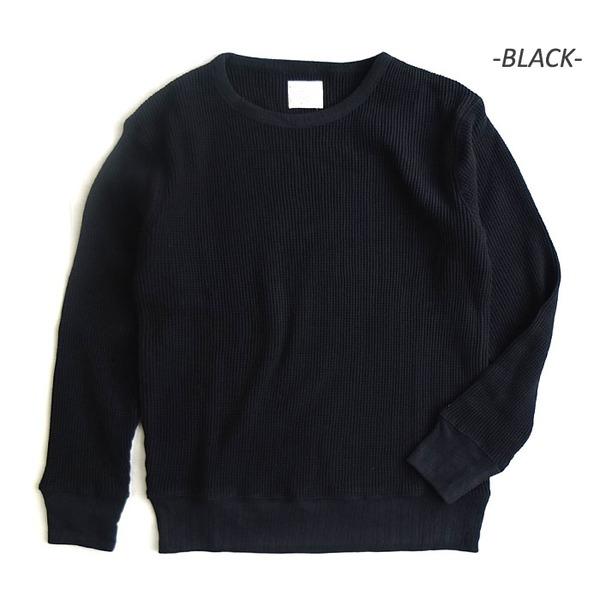 スーパーヘビーウェイト度詰めスウェット並みワッフルアンダーシャツ ブラック XL