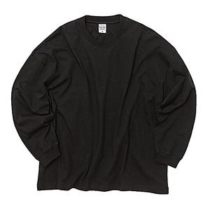 5.6オンス・ 身幅と肩幅が同寸のビッグボックスシルエット ロングスリーブ ブラック XL - 拡大画像