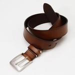 牛革一枚革ウェスト95cm対応・35mmスムース ビジカジベルト チョコ