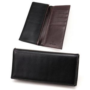 スムース長財布 表黒×内チョコ - 拡大画像