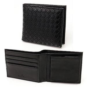 メッシュ折り財布 表黒×内黒 - 拡大画像