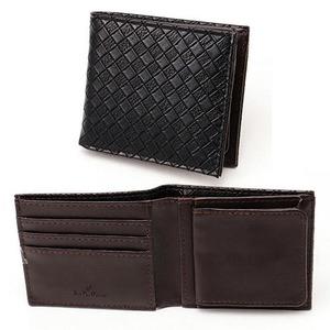 メッシュ折り財布 表黒×内チョコ - 拡大画像
