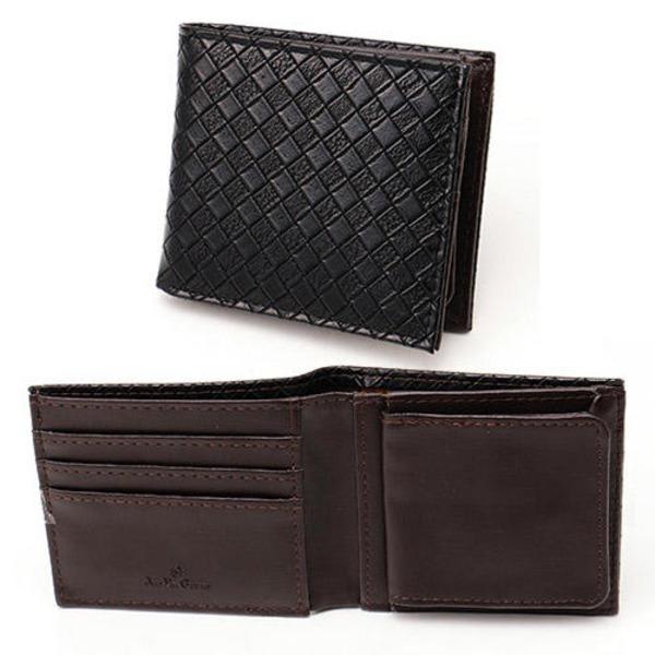 メッシュ折り財布 表黒×内チョコ