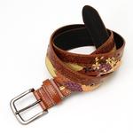竹刺繍デザイン和柄ピンベルトウェスト95cm対応 チャ