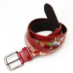 竹刺繍デザイン和柄ピンベルトウェスト95cm対応 アカ
