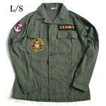 アメリカ海軍NAVY長袖ファーティングシャツ オリーブ レプリカ15h(メンズM相当)