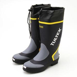 雨対策吸汗速乾ドライ裏地使用フード付長靴 ネイビー×グレー M - 拡大画像