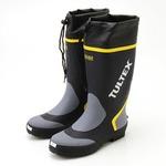 雨対策吸汗速乾ドライ裏地使用フード付長靴 ネイビー×グレー 3L