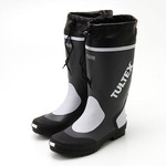 雨対策吸汗速乾ドライ裏地使用フード付長靴 グレー×ライトグレー 3L