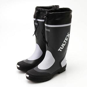 雨対策吸汗速乾ドライ裏地使用フード付長靴 グレー×ライトグレーLL - 拡大画像
