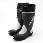 雨対策吸汗速乾ドライ裏地使用フード付長靴 グレー×ライトグレーL
