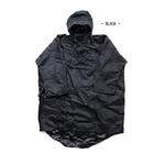 パッカブル タクティカル防水袖付レインポンチョ ブラック