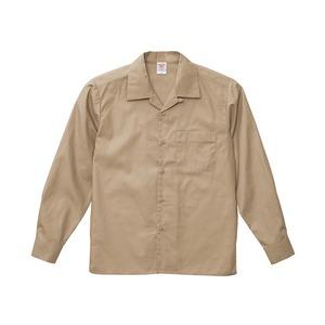 T/C ノンアイロンオープンカラー長袖シャツ モカベージュ 5XL - 拡大画像
