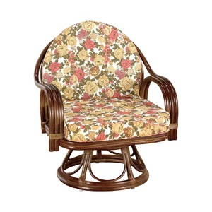 座椅子/天然籐360度回転チェア 高さが選べるゆったり 【ハイタイプ】 座面高/約42cm 木製 持ち手/肘掛け付き  - 拡大画像