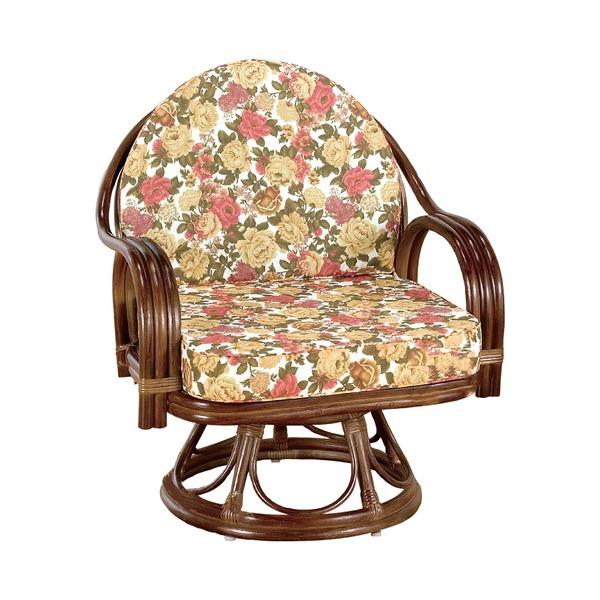 【父の日特集】ボリュームあるクッション。ゆったりサイズ「座椅子/天然籐360度回転チェア 高さが選べるゆったり 【ハイタイプ】 座面高/約42cm 木製 持ち手/肘掛け付き」