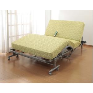 折りたたみシングルベッド/極厚収納式電動リクライニングベッド 高反発スプリングマット リモコン/キャスター付き - 拡大画像