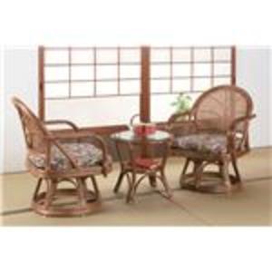 天然籐回転座椅子 リビング3点セット(ハイタイプ座椅子2脚+強化ガラス天板テーブル) アジアン調 - 拡大画像