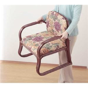 天然籐思いやり座椅子 【ハイタイプ】 座面高/約44cm 肘付き 軽量タイプ