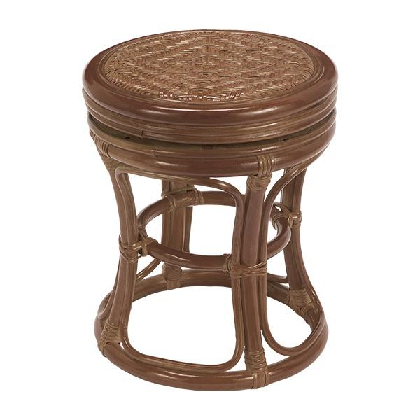 軽くて清潔感のある「天然籐回転スツール 丸型 木製 高さ39cm アジアン調 ブラウン」